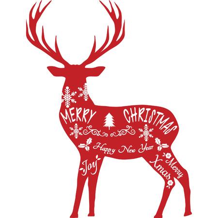 Merry Christmas Reindeer,Reindeer silhouette,Red Reindeer isolated Illustration