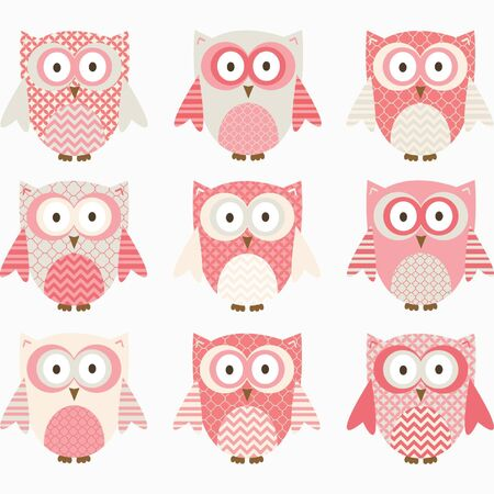 Coral and Grey Cute Owl Collections