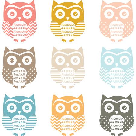 Pastel Cute Owl Silhouette