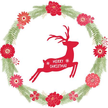 Christmas wreath with Reindeer Illustration