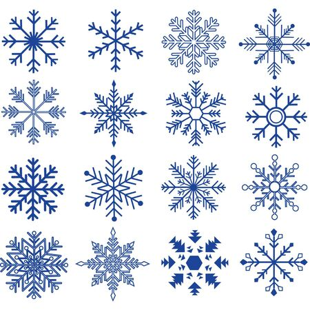Blue Snowflakes Silhouette collections.Vector illustration