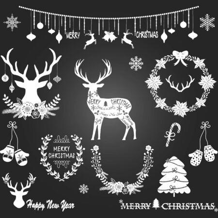 halkboard Christmas,Merry Christmas,Christmas Flowers,Deer,Wreath,Christmas decoration set