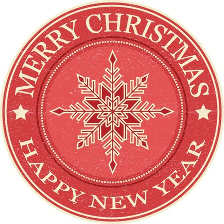 Merry Christmas and Happy New Year Grunge Rubber Stamp.Snowflakes.Red Background. Illustration