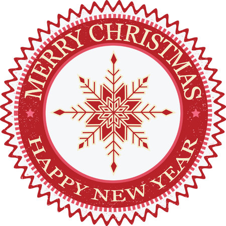 Merry Christmas and Happy New Year Grunge Rubber Stamp.Snowflakes Labels and Badges.Red and Beige Background.