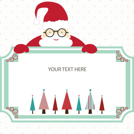 Merry Christmas Card with Santa and Christmas Tree.Christmas Invitation.Christmas Greeting Card.Template for Gift Tags,Scrap booking,Card Making.