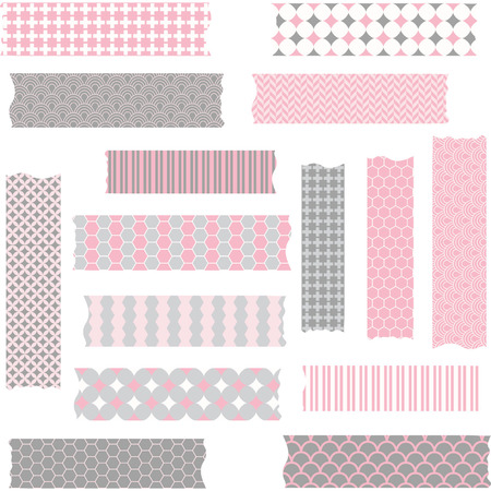 Washi Tape Scrapbook Patterns,Pink and Grey.Vector Elements.