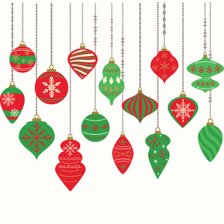 Hanging Christmas ornaments isolated on white