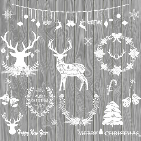 Illustration of different christmas icons over wooden background.