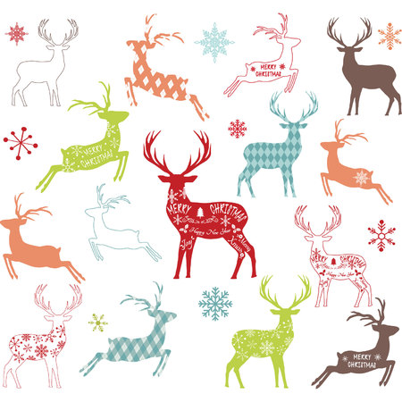 Colorful Christmas reindeer colorful silhouette. Illustration