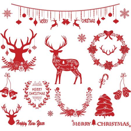 Christmas Flowers, Deer, Red Christmas Tree, Wreath, and others for Christmas decoration Collections.