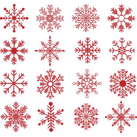 Red Snowflakes Silhouette set