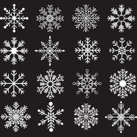 Chalkboard Snowflakes Silhouette set Illustration