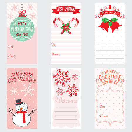 Merry Christmas And Happy New Year card design.