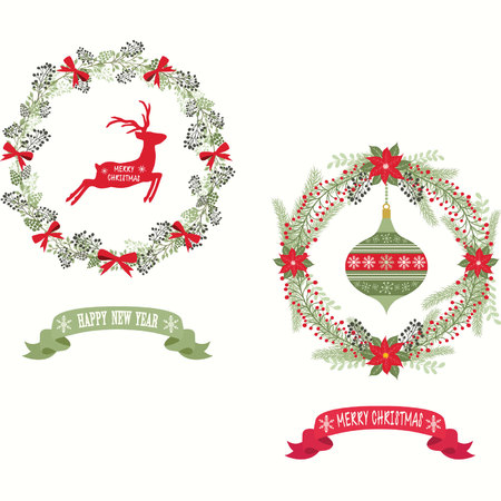 Merry Christmas and Happy New Year Christmas wreath decoration design.