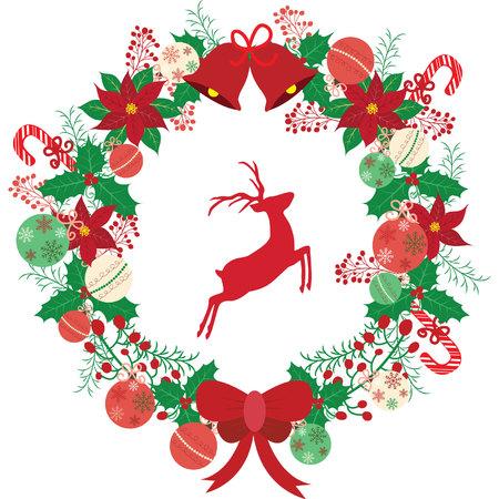 Christmas wreath with reindeer. Illusztráció