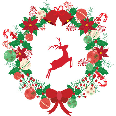 Christmas wreath with reindeer. Illustration