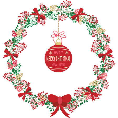 Christmas wreath with ornament. Illustration