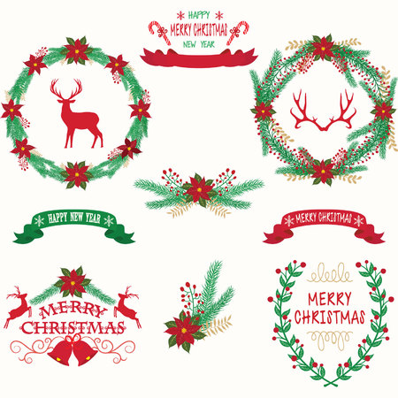 Merry Christmas and Happy New Year wreath decoration design.
