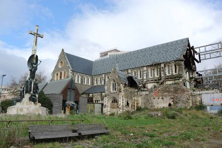Damaged Christchurch Cathedral demolished by earthquake in Christchurch, New Zealand Редакционное