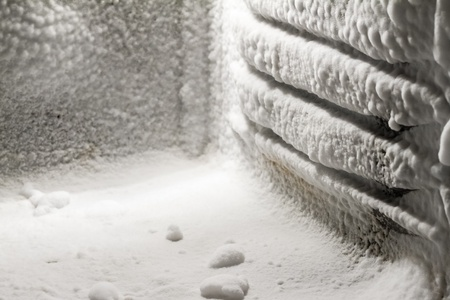 frost: Ice buildup on the inside of a freezer walls.