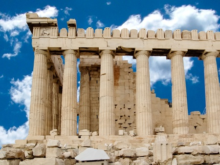 demos: Side view of the columns of The Parthenon temple or sanctuary for Athena Parthenos in Greece.