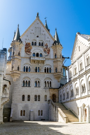 Neuschwanstein castle showing details of the architecture and courtyard.