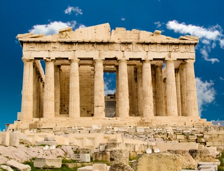 Exterior of Parthenon temple in Acropolis, Athens, Greece. photo