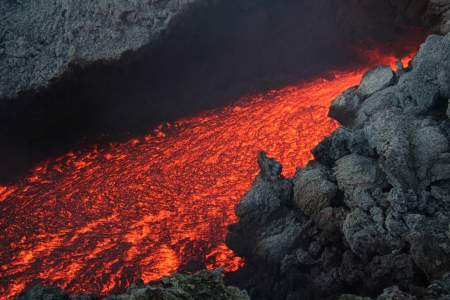 detonation: Etna vulcan lava magma in Sicily Stock Photo