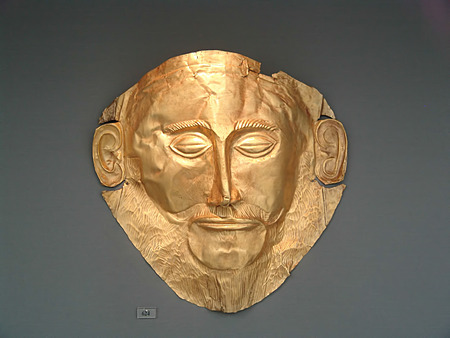 findings: Even though the archaeological evidence speaks against that the famous golden mask of Agamemnon actually belonged to the famous king, it is one of the most famous findings of the ancient world. It is on display in the National Archaeological Museum of Ath