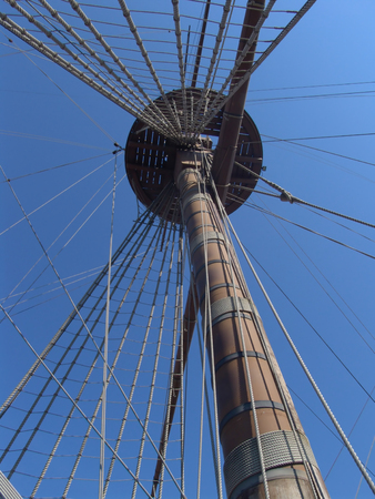 Particular of Neptune Galeon in the port of Genova italy photo