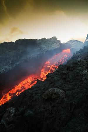 orifice: Etna vulcan lava magma in Sicily Stock Photo