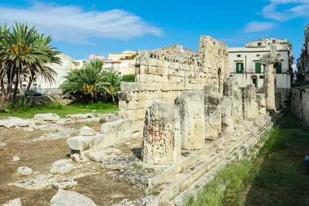 demos: ancient greek apollo temple ruins in Siracusa city Italy