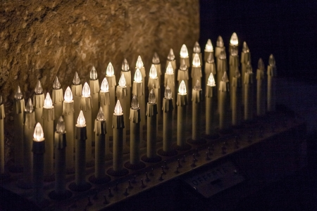 ortigia: Offer candles in the Ortigia main cathredal in Siracusa city in Italy Stock Photo