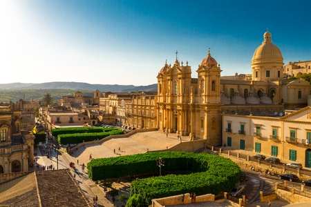 syracuse: A view of the front of Noto Cathedral, typical of baroque architecture, in Syracuse, Sicily.