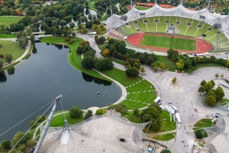 olympiad: Olympiapark Munchen viewed from the Olympiaturm a 190 metre platform on the television tower.