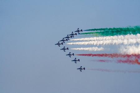arma: Tricolor italian airpals Frecce Tricolore during an exhibition.