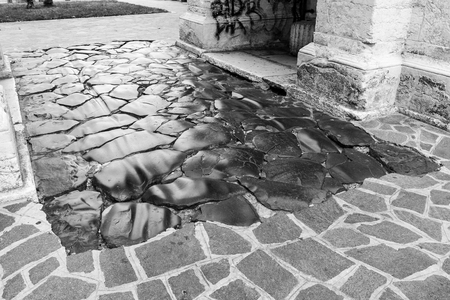 greece granite: Stone pavement in detail and in perspective.