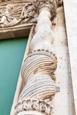 greek column: Ancient greek column in Duomo main Cathedral of Siracusa