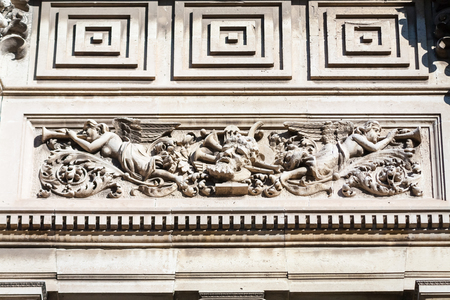 bas: Close up of architectural bas relief in black and white.