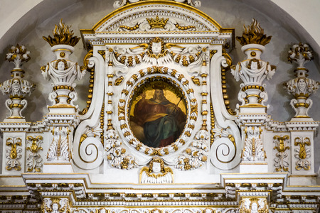 gilt: Ornate architecture inside church apse with gold gilt. Stock Photo