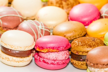 caked: Group of decorative sweet Macarons pralines. Stock Photo