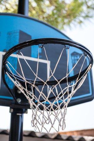 backboard: Low angle view on outdoor basketball hoop with building design on backboard with tree and sky in background
