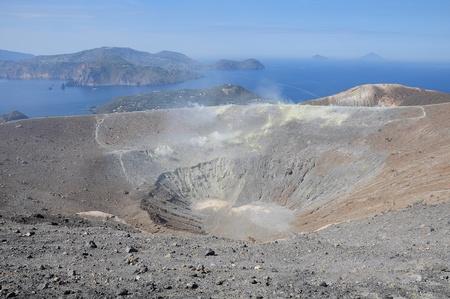 Crater of the volcano  Volcano island  Italy   Stock Photo