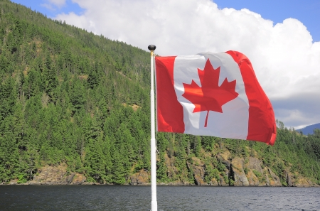 Canadian flag on Vancouver island  photo