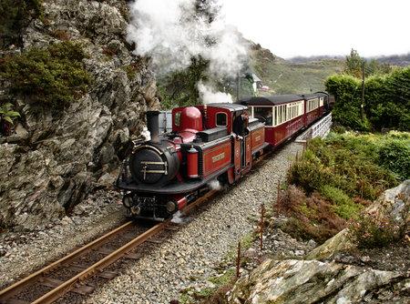 narrow gauge railway: Steam narrow gauge train goes from  Blaenau Ffestiniog to Porthmadog on September 21, 2007, Wales
