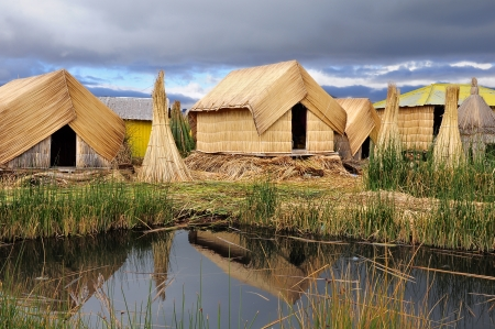 Small houses on Uros islands  Titicaca lake  Peru