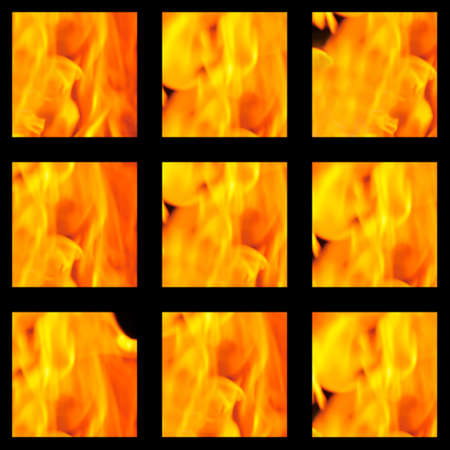 Background made from cubes with fire   photo