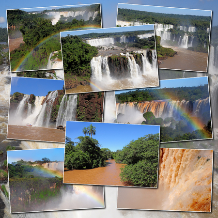 a collage made from Iguazu river and falls pictires