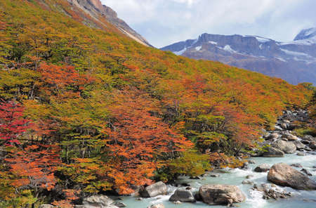 los glaciares: Autumn landscape  Los Glaciares National park  Argentina  Stock Photo
