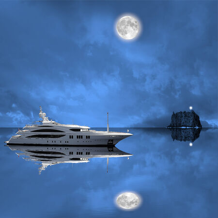 Fashionable yacht in the open sea at night  photo